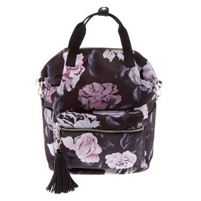 Floral Quilted Double Handle Backpack - Black,