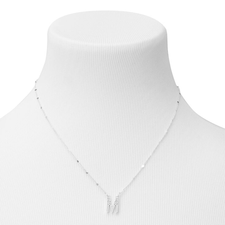 Silver Half Stone Initial Pendant Necklace - M,