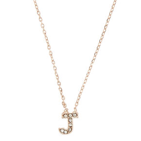 "Rose Gold-Tone ""J"" Initial Pendant Necklace,"