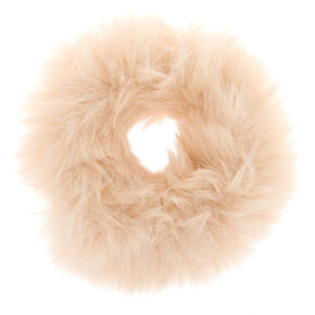 Faux Fur Hair Scrunchie - Ivory,