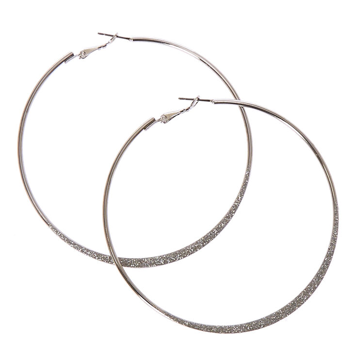 80mm Silver Glitter Tape Hoop Earrings,