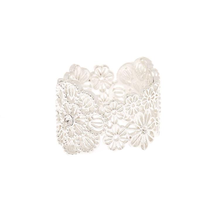 Silver Filigree Flower Ring,