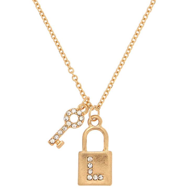 Gold Lock & Key Initial Pendant Necklace - L,