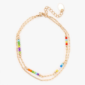 Gold Rainbow Beaded Double Chain Anklet,