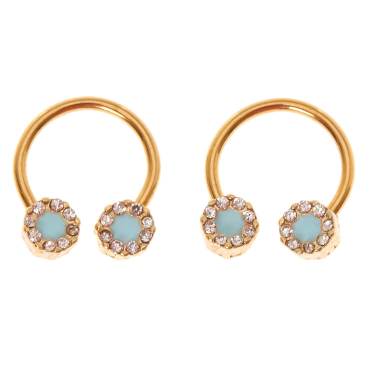 16G Gold Blue Ice Nipple Rings,