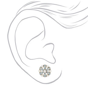 Silver Mermaid Pearl Flower Stud Earrings,