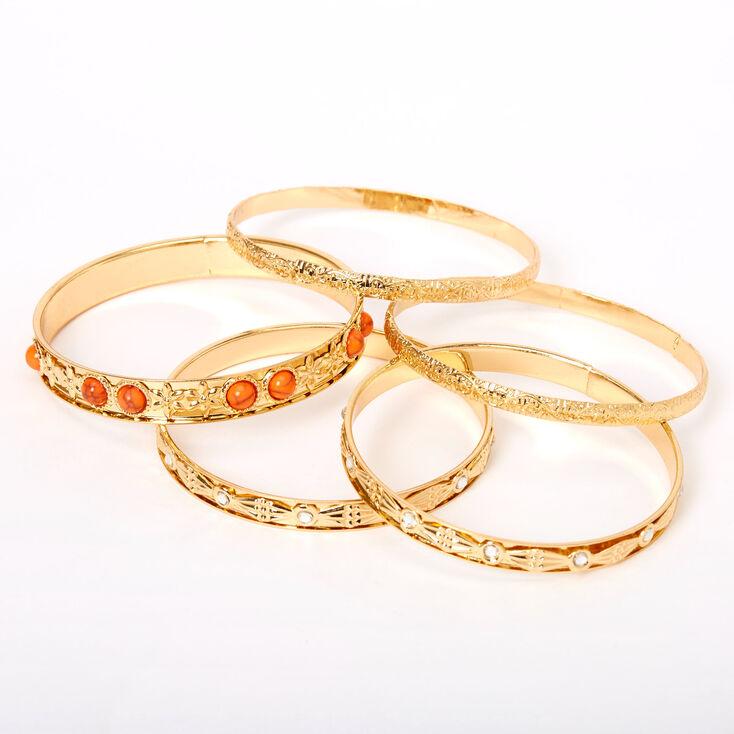 Gold Mediterranean Bangle Bracelets - Coral, 5 Pack,
