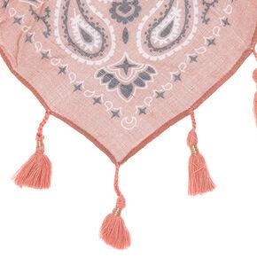 Square Bandana Tassle Scarf - Pink,