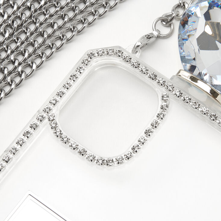Silver Rhinestone Phone Case With Chain - Fits iPhone 11,