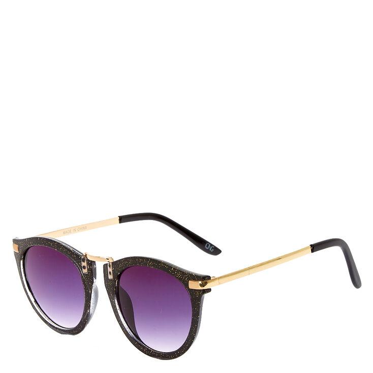 Mod Round Black Glitter Sunglasses,