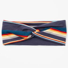 Striped Twisted Headwrap - Navy,