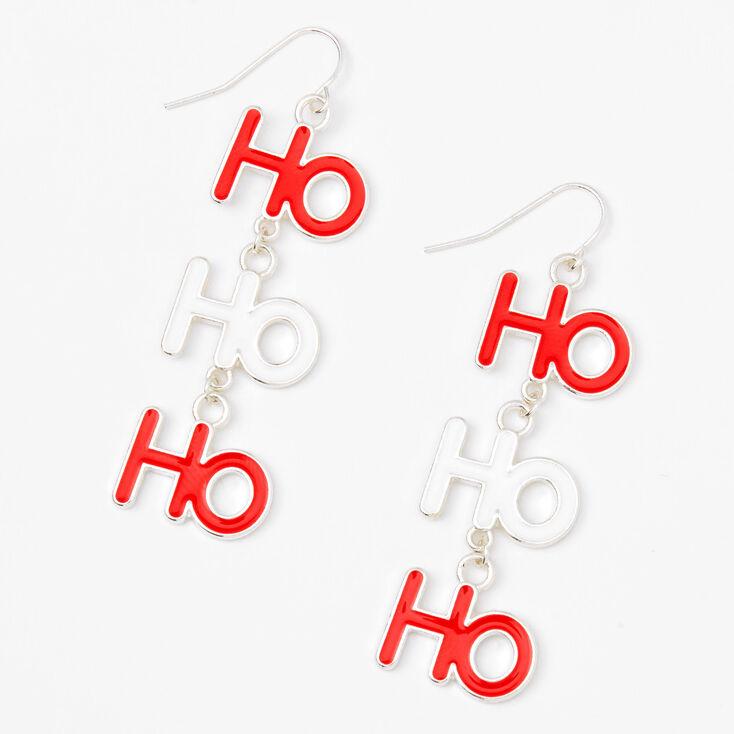 """Silver 2"""" Ho Ho Ho Drop Earrings,"""