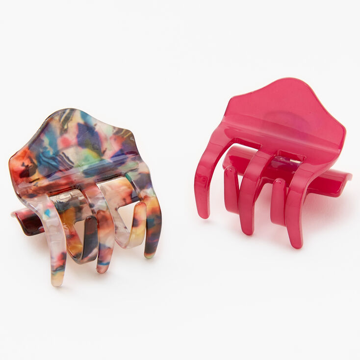 Pink & Rainbow Marble Hair Claws - 2 Pack,
