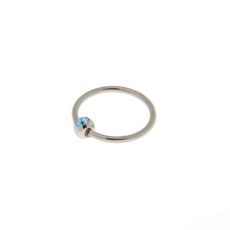 Silver Swarovski® 20G Stone Nose Ring - Blue,