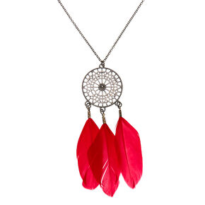 Hematite Dreamcatcher Long Pendant Necklace - Red,