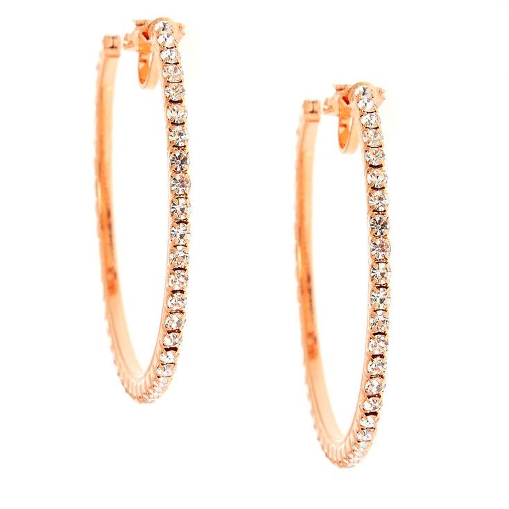 40MM Rose Gold-Tone Half Hoop Clip On Earrings,