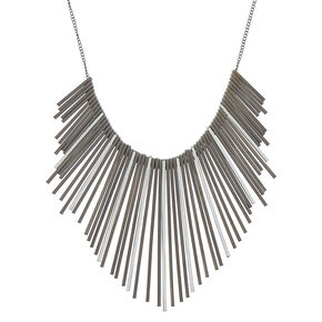 Black Glitter Bar Bib Statement Necklace,