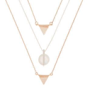 Mixed Metal Lucite Shape Pendant Necklaces - 3 Pack,