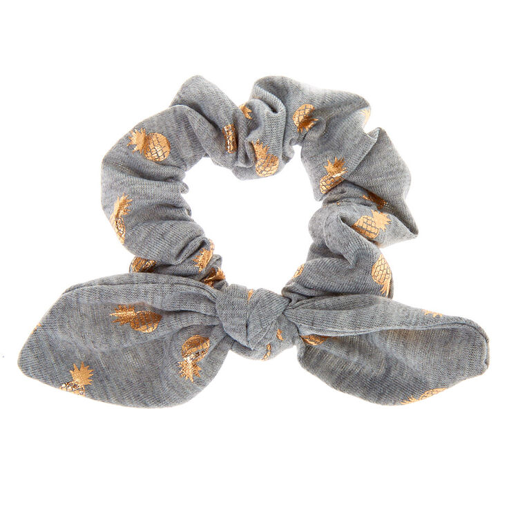 Small Pineapple Knotted Bow Hair Scrunchie - Gray,