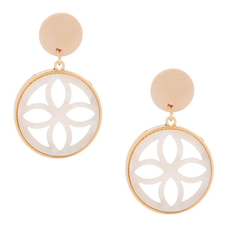 "Gold 1.5"" Wooden Tortoiseshell Drop Earrings - White,"
