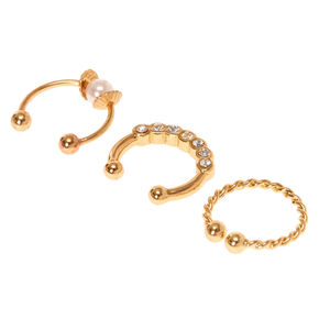 Gold Twisted Pearl Faux Cartilage Hoop Earrings - 3 Pack,