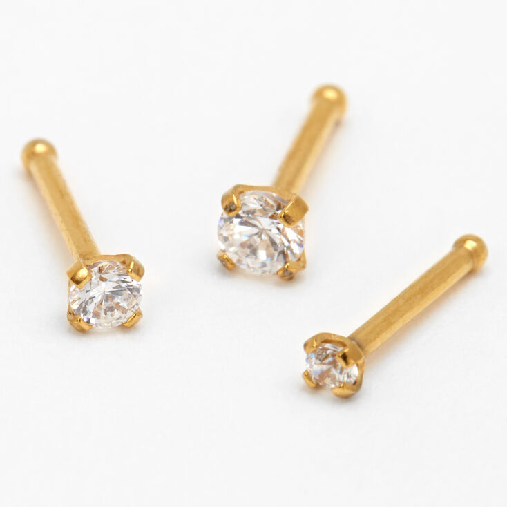 Gold Cubic Zirconia 20G Mixed Size Nose Studs - 3 Pack,