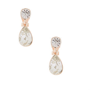 Rose Gold Teardrop Crystal Drop Earrings,
