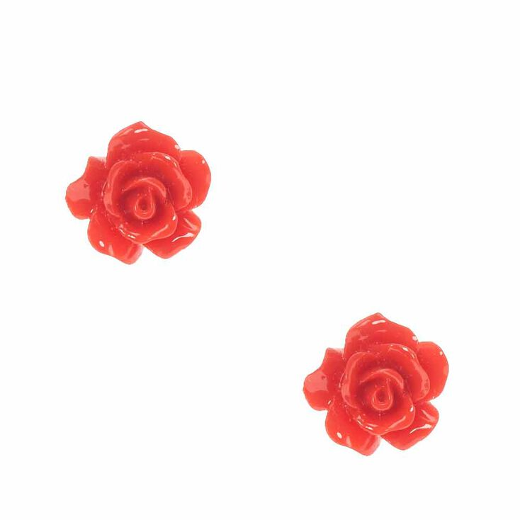 Carved Rose Stud Earrings - Red,