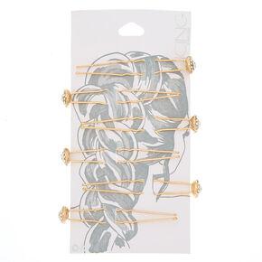 Gold Glass Rhinestone Halo Hair Pins,