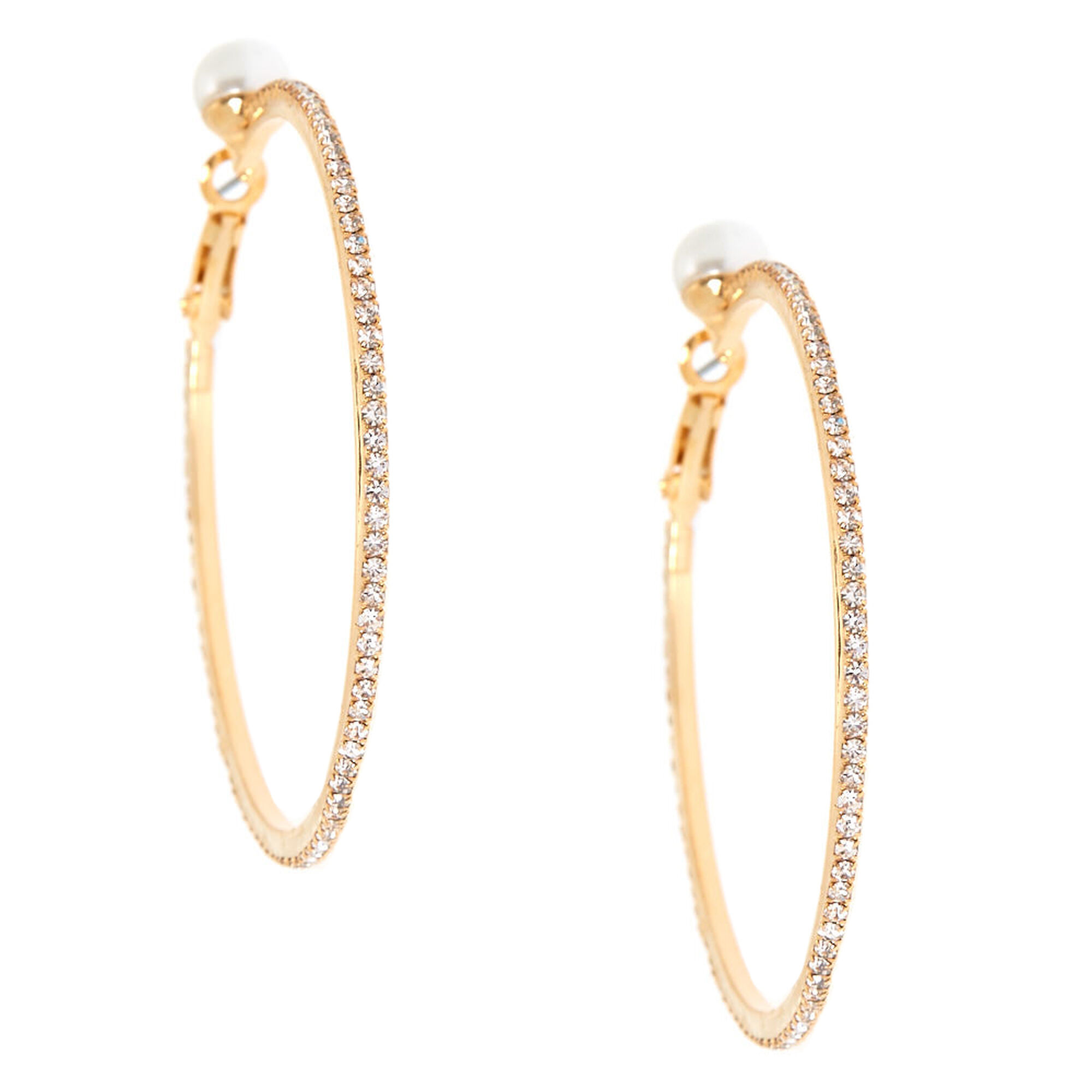 Gold 50mm Pearl Gl Rhinestone Hoop Earrings