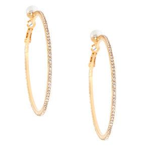 Gold 50mm Pearl Gl Rhinestone Hoop Earrings
