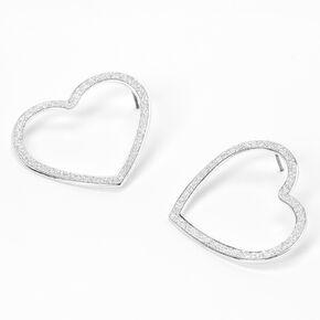 Silver Glitter Open Heart Stud Earrings,