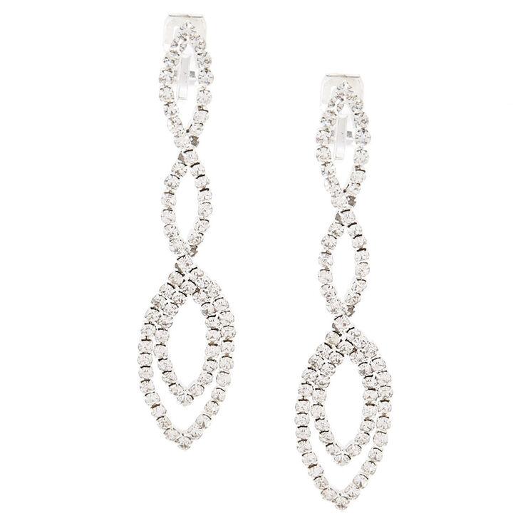 "Silver 2.5"" Crystal Drop Earrings,"