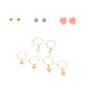 Gold Nature Lover Mixed Earrings - 6 Pack,