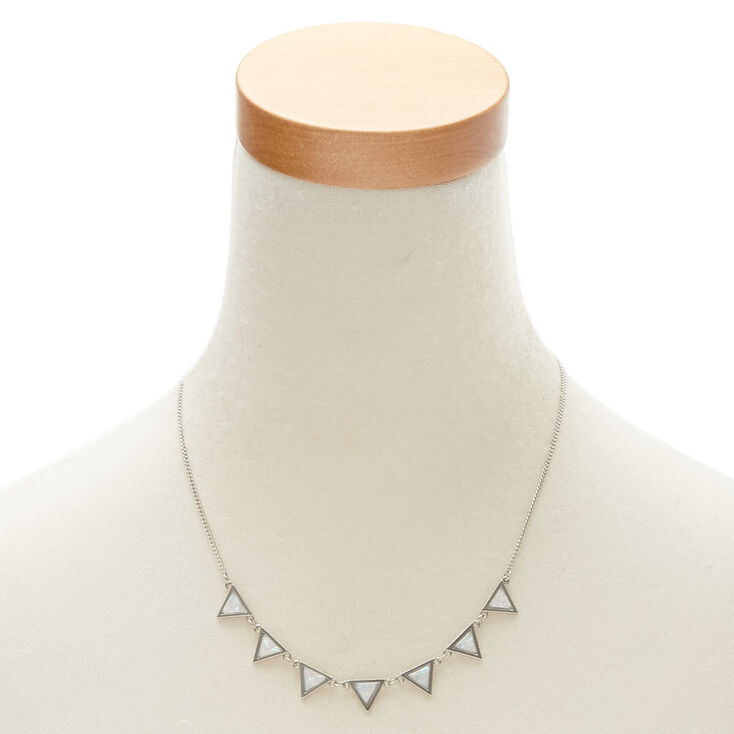Iridescent Triangle Statement Necklace and Earrings Set,