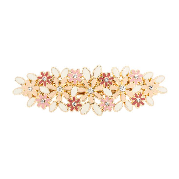 Pink & Ivory Enamel Flowers Hair Clip,
