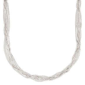 Silver Rhinestone Twisted Statement Necklace,