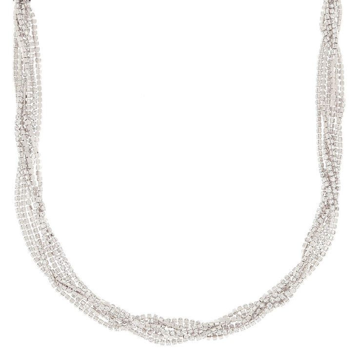 Silver Rhinestone Twisted Statement Necklace,