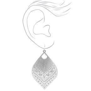 """Silver 2.5"""" Filigree Teardrop Drop Earrings,"""