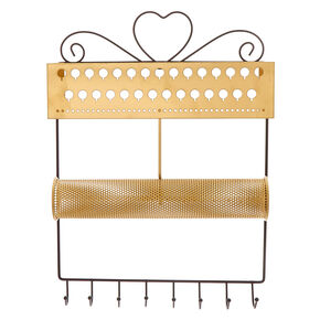Brushed Gold Hanging Jewelry Holder,