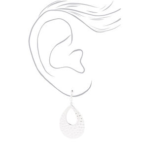 "Silver 2"" Double Teardrop Clip On Drop Earrings,"