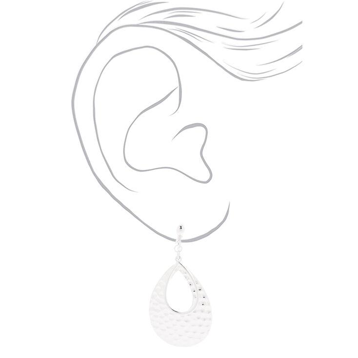 """Silver 2"""" Double Teardrop Clip On Drop Earrings,"""
