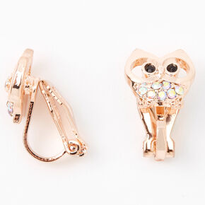 Rose Gold Iridescent Stone Owl Clip On Earrings,