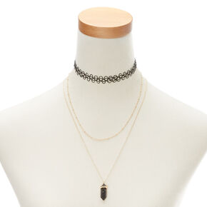 Black Marble Stone Necklace Set,