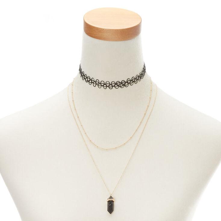 Black Marble Stone Necklace Set,