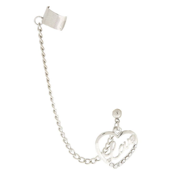 Silver Love Heart Chain Ear Cuff,