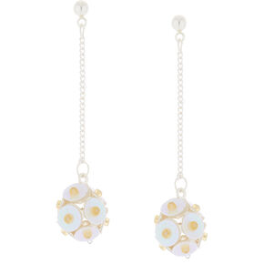 "2"" Sequin Ball Drop Earrings - White,"