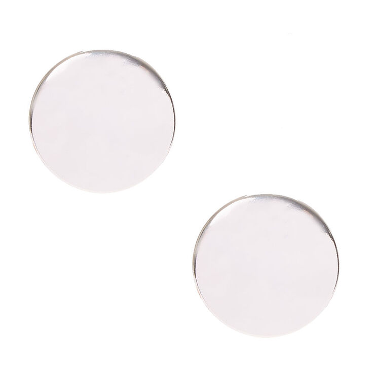 Silver Disc Oversized Stud Earrings,
