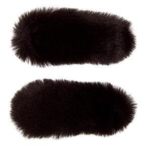 Faux Fur Snap Hair Clips - Black, 2 Pack,