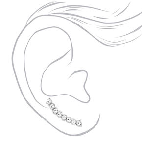 Silver Tone Curved Faux Crystal Bar Ear Crawler,